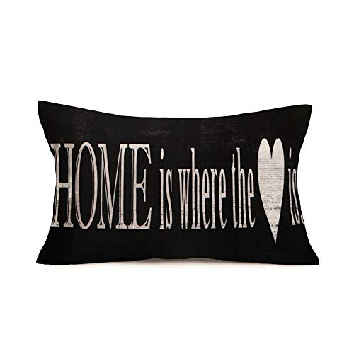Rectangle Pillow Covers Inspirational Quote Saying Home Is Where The Heart Is Printed Home Office Decorative Throw Waist Lumbar Pillow Case Black Cushion Cover Oblong Long 12 X 20 Inches (T)