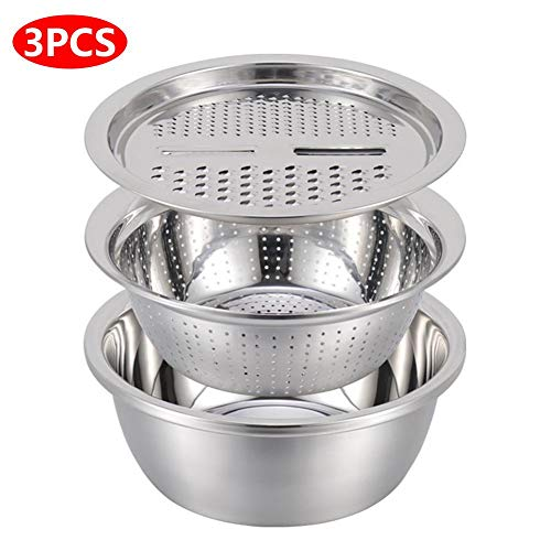 Kitchen Graters Cheese Grater, Multipurpose Julienne Grater Salad Maker Bowl with Stainless Steel Drain Basin for Vegetables Fruits Cheese Chocolate