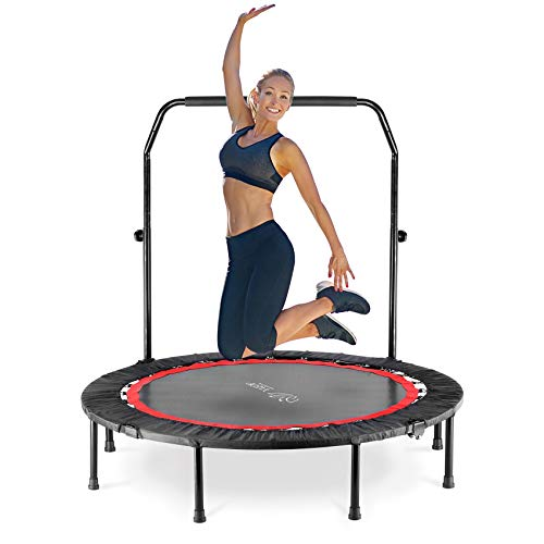 """YAEOP 48"""" Foldable Mini Trampo-line,Fitness Trampo-line with Safety Pad, Stable & Quiet Exercise Rebounder Exercise Trampo-line Rebounder for Indoor/Garden Workout"""