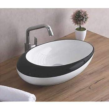 Lavabo de salle de bain Luxueuse designer Vasque /à Poser en C/éramique Lavabo Blanche Forme Oeuf 47 x 30 x 12 Cm