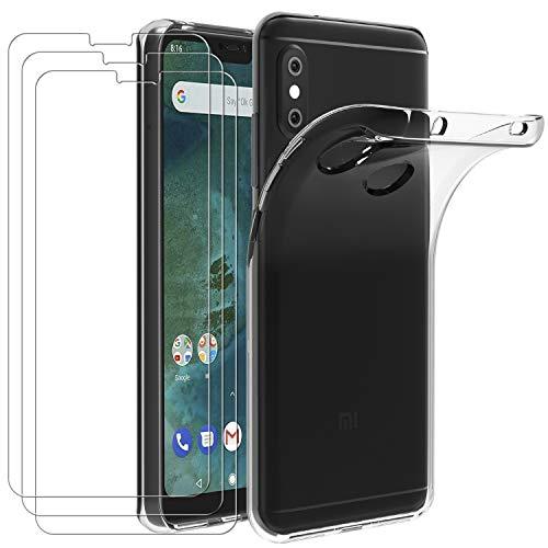 ivoler Hülle für Xiaomi Mi A2 Lite, mit 3 Stück Panzerglas Schutzfolie, Dünne Weiche TPU Silikon Transparent Stoßfest Schutzhülle Durchsichtige Handyhülle Kratzfest Case