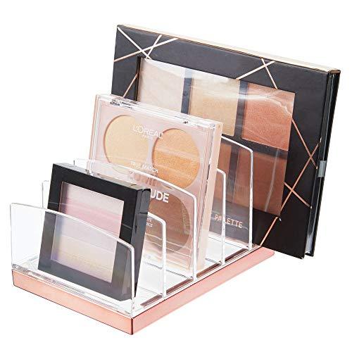 mDesign Kosmetik Organizer aus Kunststoff – Schminkaufbewahrung mit 5 Steckplätzen – Aufbewahrungsbox für den Waschtisch, Schminktisch oder Schrank – durchsichtig und rotgold