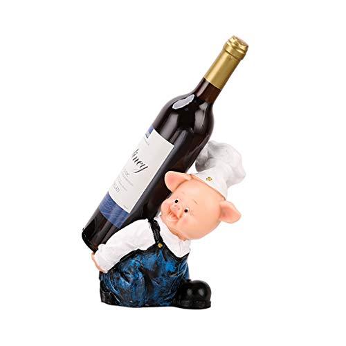 Botellero para Vino Titular de la botella de vino en el animal rústico de la escultura y estatua vino destaca torcido sombrero de cerdo Arte de escritorio Decoración de resina adornos de 8,2 pulgadas