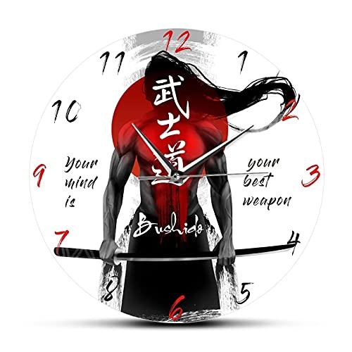 xinxin Reloj de Pared Samurai con Espada Katana Caligrafía Japonesa Bushido Reloj de Pared Artes Marciales Hombre Cueva Reloj de Pared Decoración del hogar Japón Regalo para Hombre