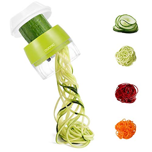 Adoric Spiralschneider Hand [ 4 in 1 ] Gemüse Spiralschneider, Gemüsehobel für Karotte, Gurke, Kartoffel,Kürbis, Zucchini, Zwiebel, Gemüsespaghetti,Tastenumschalten (MEHRWEG) (Grün)