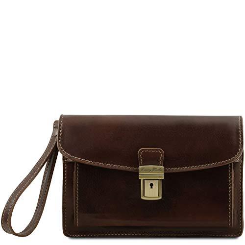 Tuscany Leather - Max - Elegante Handgelenktasche/Herrentasche aus Leder Dunkelbraun - TL8075/5
