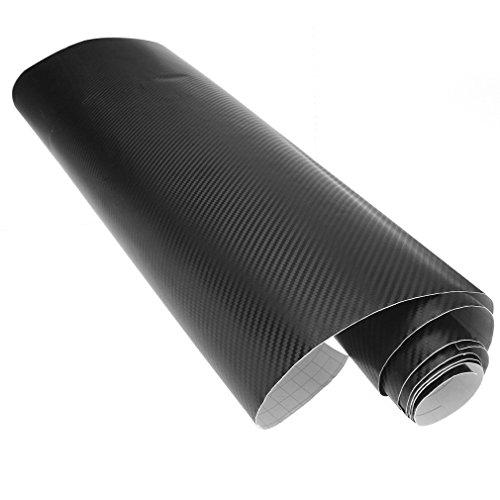 Rollo de vinilo de fibra de carbono 3D de 60 cm x 2 m, color negro