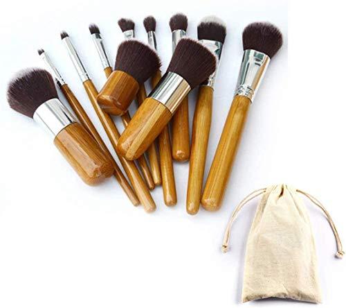 Ensemble de pinceaux de maquillage, 11 pièces pinceau cosmétique haut de gamme, pinceau à paupières fard à paupières pour fond de teint avec sac en tissu de voyage