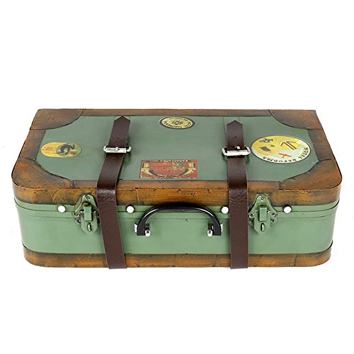 Ouuager-Home Vintage Aufbewahrungsbox Aufbewahrungsbox (38x11x21cm) Vintage Schatzkiste Schmuckaufbewahrung Eisen-Kasten-Koffer for Hauptdekoration Vintage Koffer (Color : Green, Size : 38x11x21cm)
