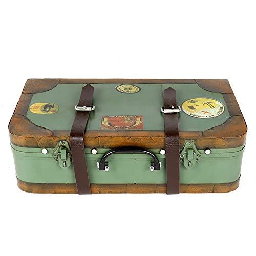 BESISOON-HO Antiker Retro Gepäck Koffer (38x11x21cm) Antik Speicher Schatztruhe Box, Vintage-Schatzkiste Schmuckaufbewahrung Eisen-Kasten-Koffer for Hauptdekoration Wohnkultur Handwerk Fotoshootings