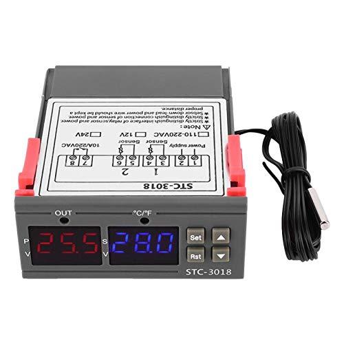 STC-3018-55 ° C - 120 ° C Controlador de temperatura digital Pantalla dual Termostato con sensor de pantalla dual con cable NTC Longitud 1M (12V)(12V)