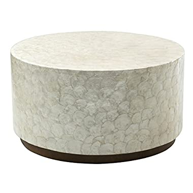 East at Main Rowden Off-White Wood and Capiz Round Coffee Table, (31x31x16)