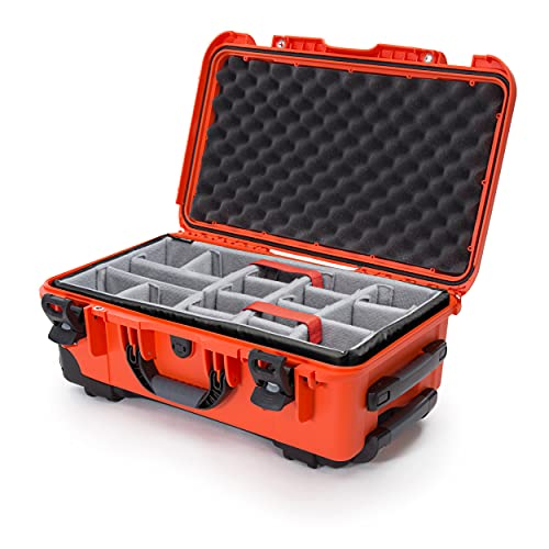 pelican carryon rollers Nanuk 935 Waterproof Carry-On Hard Case with Wheels and Padded Divider - Orange