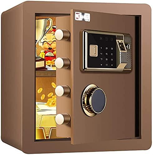 DJDLLZY Caja de seguridad digital electrónica, 36 x 32 x 40 cm, caja fuerte de acero para el hogar, pantalla LED, para oficina, hotel, joyas, efectivo, dorado, marrón (color: marrón)