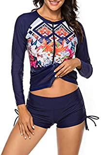 TIZAX T-Shirt de Bain Anti-UV pour gar/çon Maillot de Bain /à Manche Longue Enfants Rashguard pour Surf Natation plong/ée Plage UPF 50+