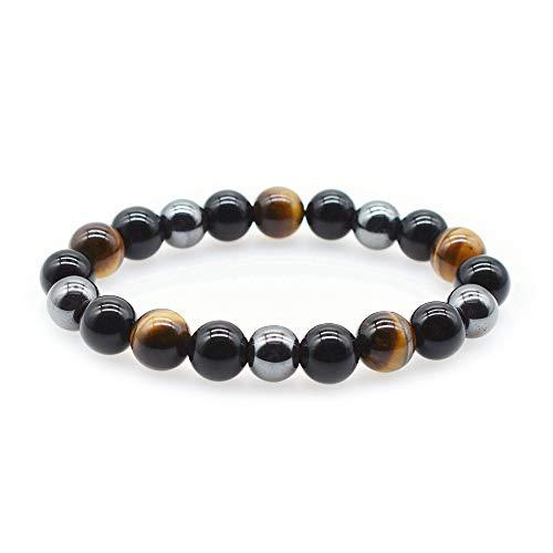 KIOMOY Triple Protection Bracelet For Protection Bring Luck And Prosperity Hematite Black Obsidian Tiger Eye Stone Bracelets (Tiger Eye)