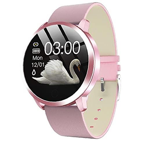 nJiaMe Relojes Inteligentes Q8 Pulsera Inteligente Impermeable con Cuero de Prueba del Ritmo cardíaco de la Correa del Contador de Paso del Ciclo Menstrual de la Mujer Rosa