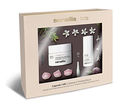 Sensilis Upgrade - Pack Crema AR Antiarrugas y Antirojeces con Gingko Biloba 50 Ml + Contorno de Ojos Reafirmante con Cafeína para Pieles Sensibles 15 Ml