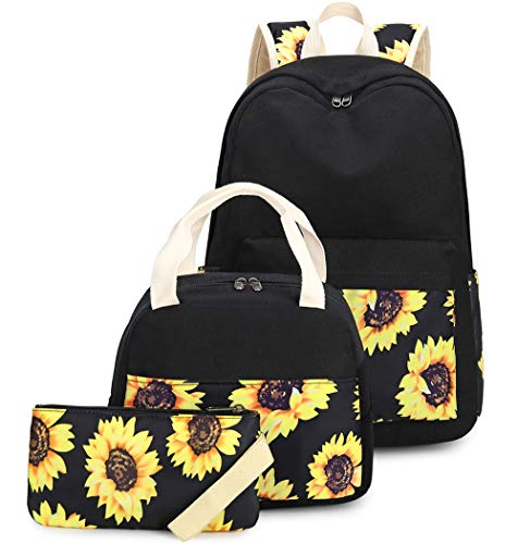 CAMTOP Teen Girls Backpack for School Canvas Sunflower Bookbag for Women Kids (Sunflower-Black)