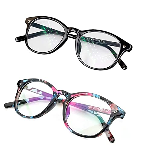 CREEK Unisex Blue Light Blocking Blue Cut Anti Glare Round Glasses Combo Pack Of 02 for Eye Protection from UV by Computer/Tablet/Laptop/Mobile