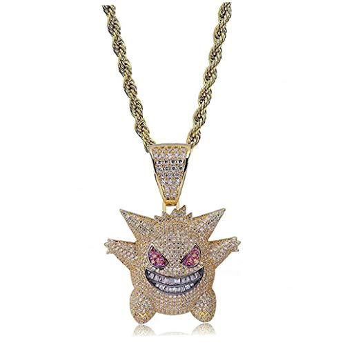 sjqc9561 Hip Hop Heló hacia Fuera El Collar del Rhinestone Crystal Pokemon Plata Pendiente con La Cadena Colgante Killy Gengar con 24' Cuerda Inoxidable Hombres Mujeres (Oro)