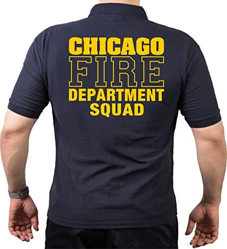 Polo - Thème pompier de Chicago - Avec inscription « Chicago Fire Department Squad » en jaune, bleu marine, XXXL