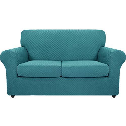 MAXIJIN Juego de 3 fundas para sofá de 2 plazas de jacquard elástico antideslizante para perros y mascotas, protección elástica para muebles de 2 plazas, color azul pavo real