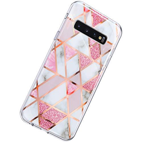 Herbests Kompatibel mit Samsung Galaxy S10 Plus Hülle Marmor Muster Glänzend Glitzer Bling Weich Silikon Hülle Kratzfest Schutzhülle Tasche Crystal Case Durchsichtig Dünn Handyhülle,Marmor Rosa