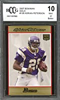 2007 bowman #126 ADRIAN PETERSON minnesota vikings rookie card BGS BCCG 10 Graded Card