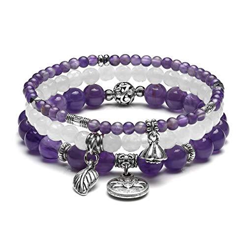 JOVIVI 3pc Amethyst Crystal White Jade Bracelet Set Women Healing Crystals Gemstones Reiki Chakra Beads Leaf Lotus Lucky Charm Wrap Bracelets Jewellery