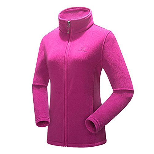 emansmoer Femme Outdoor Thermique Chaud Confort Veste Polaire Bodywarmer Full Zip Col Montant Manches Longues Manteau (XX-Large, Violet Rouge)