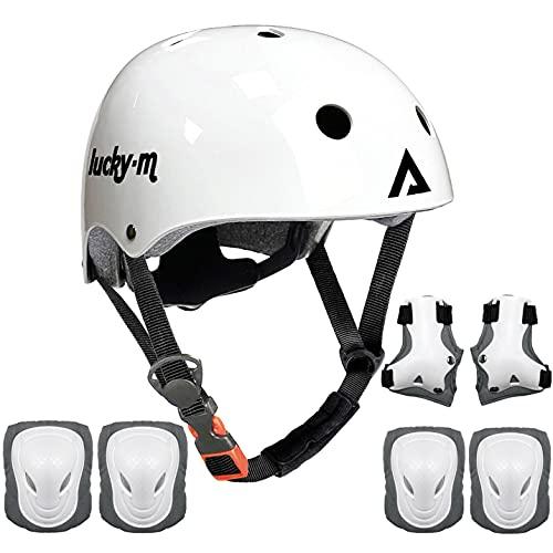 Lucky-M - Set di attrezzi protettivi per bambini, misura regolabile, con ginocchiere, gomitiere, polsiere per skateboard, ciclismo, hoverboard, scooter, Rollerblading...