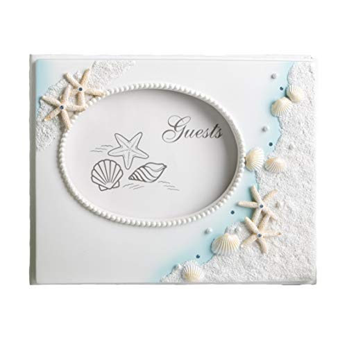 """FASHIONCRAFT 2418 Finishing Touches Collection Beach Themed Wedding Guest Book, Blue Wedding Guest Book, Coral, 9.5"""" x 7.5"""" x 2"""", 1-Piece"""