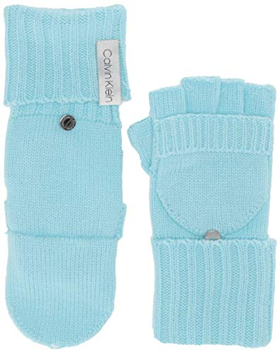 Calvin Klein Women's Knitted Convertible Fingerless Gloves with Mitten Flap Cover, clear Blue, One Size