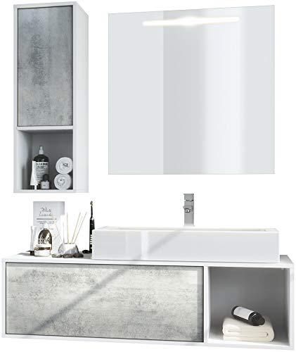 Vladon Badmöbel Komplettset La Costa, Korpus in Weiß matt/Fronten in Beton Oxid Optik, mit Aufsatzwaschbecken, Armatur und LED Spiegel
