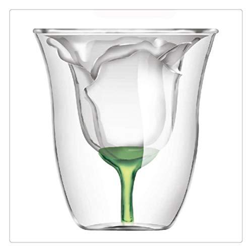 SHENHUO Forma De Rosa Bilayer Copa De Vino Coctel De Vidrio Flip Liquor Copa Hogar Bar Amante Regalo