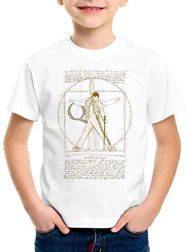 style3 Freddie de Vitruvio Camiseta para Niños T-Shirt da Vinci Live Rock You Festival, Color:Blanco, Talla:116