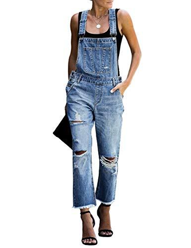 luvamia Women's Casual Distressed Adjustable Denim Bib Overalls Jeans Pants Jumpsuits Blue Size Small