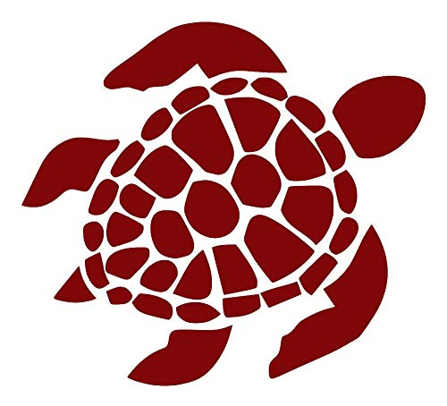 Sea Turtle [Pick Any Color] Vinyl Transfer Sticker Decal for Laptop/Car/Truck/Window/Bumper (10in x 9in, Maroon)