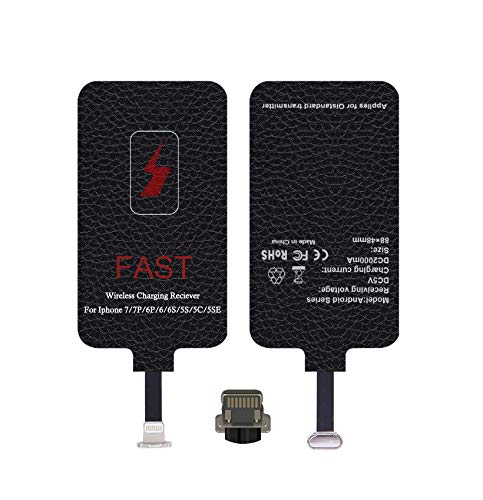 Fast Wireless Charger Adapter for iOS, iOS Charging Pad, Qi Receiver Compatible with iPhone 5,5S,6,6S,6Plus,7,7S,7Plus,SE(Black)