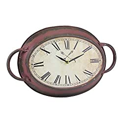 Stonebriar High Plains Red Rust Metal Oval Wall Clock, 16.5 x 10.6