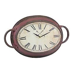 Stonebriar High Plains Red Rust Metal Oval Wall Clock, 16.5 x 10.6