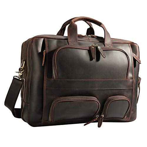 Texbo Men's Solid Top Cowhide Leather Large 17.3 Inch Laptop Briefcase Messenger Bag Tote with YKK Metal Zippers Fit Business Trip