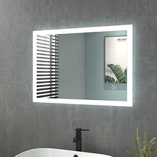 Badspiegel mit Beleuchtung 50x70cm Badezimmerspiegel mit Beleuchtung LED Badspiegel Kaltweiß Lichtspiegel Wandspiegel mit Touchschalter IP44 Energiesparend Vertikal/Horizontal Montage