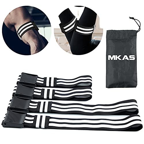 MKAS 4 Packs Blood Flow Restriction Bands BFR Occlusion Bands for Women Men Glutes Arms Adjustable Exercise BFR Booty Bands for Bicep Legs Muscle Growth Fitness