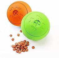 Bojafa Dog Treat Toys Balls 2 Pack, Durable Dog Puzzle Toy Puppy Teething Toys for Treat Dispensing/...