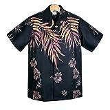 アロハシャツ メンズ ハワイ製 Winnie Fashion ブラック/ゴールドブラウン/ヤシの葉柄 ハイビスカス(USXLサイズ)