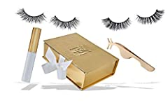 Hand woven 100% mink eyelashes One 3D & One 5D pair of mink eyelashes Box set includes 2 pair of eyelashes, applicator & latex free - hypo-allergenic glue