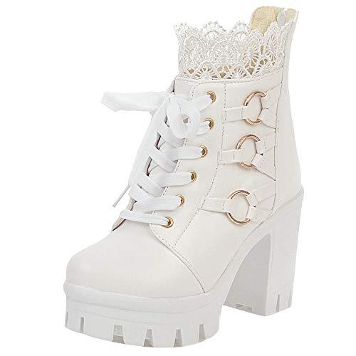 NIGHT CHERRY Damen Sweet Chunky Heel Dress Boots Plateau Runde Zehen Kurzschaft Stiefeletten Reißverschluss White Gr 40 Asiatisch