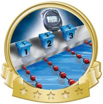 Crown Awards Swim Banner Pins Gold Mail order Swimming Super special price Pin